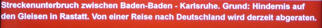 Reisewarnung der SBB (Bild: Klaus Dapp)