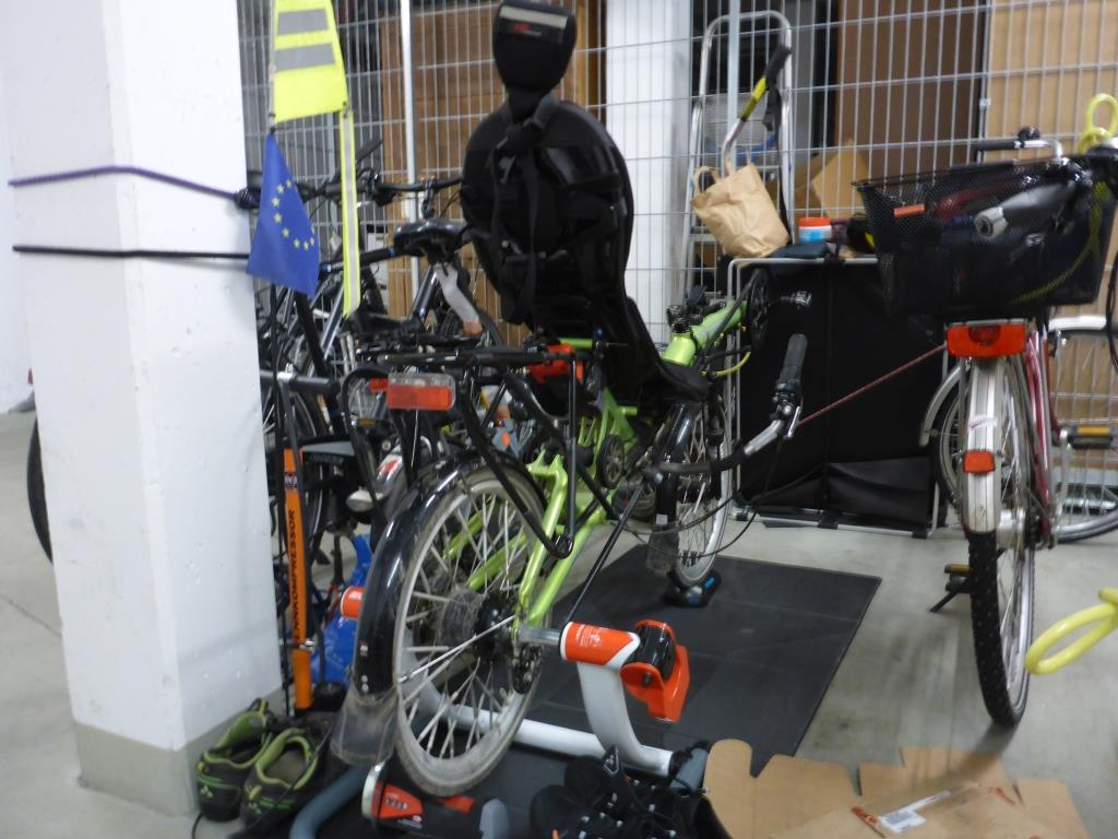 Grasshopper auf der Trainingsrolle im Fahrradkeller (Bild: Klaus Dapp)