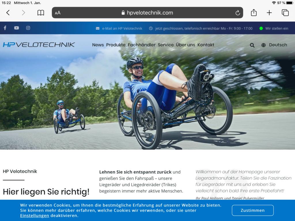 Homepage von HP Velotechnik (Screenshot vom 1.1.2020)