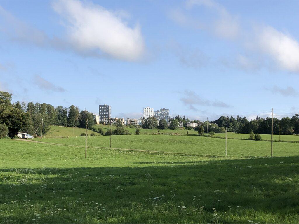 Hochhäuser am Rand von La Chaux de Fonds (Bild: Klaus Dapp)